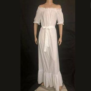 Vtg 70s Off-Shoulder Eyelet Ruffle white Dress